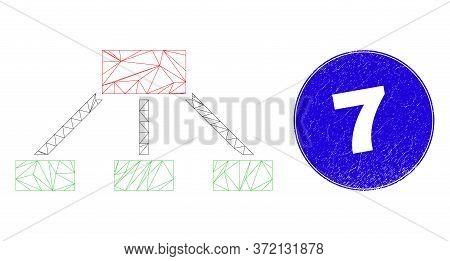Web Carcass Hierarchy Links Icon And 7 Seal Stamp. Blue Vector Rounded Scratched Seal Stamp With 7 T