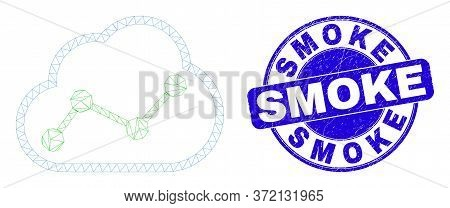 Web Mesh Cloud Chart Pictogram And Smoke Seal. Blue Vector Rounded Grunge Watermark With Smoke Text.