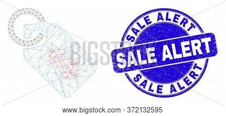 Web Carcass Price Tag Pictogram And Sale Alert Watermark. Blue Vector Round Scratched Watermark With