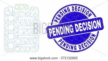 Web Mesh Items Pad Pictogram And Pending Decision Seal. Blue Vector Rounded Grunge Watermark With Pe
