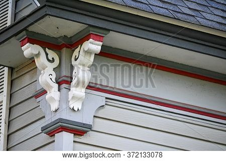 Detail Of Ornate Corner Of A House With Elaborate Lattice Work.