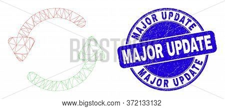 Web Carcass Refresh Arrows Pictogram And Major Update Seal Stamp. Blue Vector Round Grunge Stamp Wit