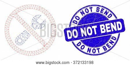Web Carcass Forbidden Repair Pictogram And Do Not Bend Seal Stamp. Blue Vector Round Scratched Seal