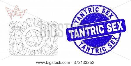 Web Carcass Photo Flash Pictogram And Tantric Sex Seal Stamp. Blue Vector Rounded Grunge Seal With T