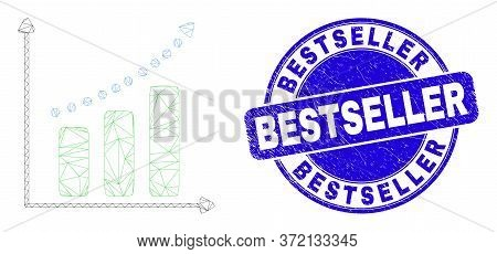 Web Mesh Growing Chart Pictogram And Bestseller Stamp. Blue Vector Rounded Grunge Stamp With Bestsel