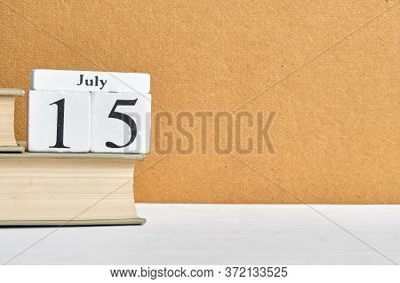 15th July Fifteenth Day Month Calendar Concept On Wooden Blocks With Copy Space