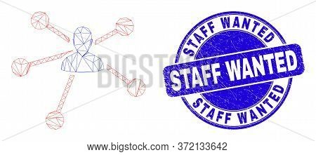 Web Carcass User Links Pictogram And Staff Wanted Seal Stamp. Blue Vector Round Scratched Seal Stamp