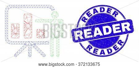 Web Mesh Bar Chart Presentation Pictogram And Reader Watermark. Blue Vector Rounded Textured Stamp W