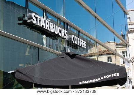 Bordeaux , Aquitaine / France - 11 07 2019 : Starbucks Coffee Logo Sign Front Of Shop Cafe Store Cof