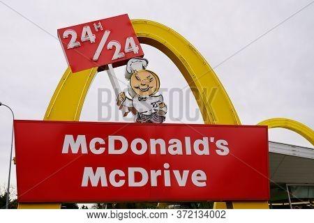 Bordeaux , Aquitaine / France - 11 30 2019 : Mcdonalds Mc Drive Large Store Logo Sign Vintage Americ