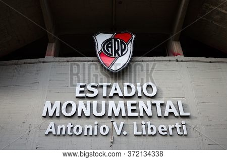 Buenos Aires, Argentina - January, 2020: River Place Football Club Emblem On A Home Stadium Called E