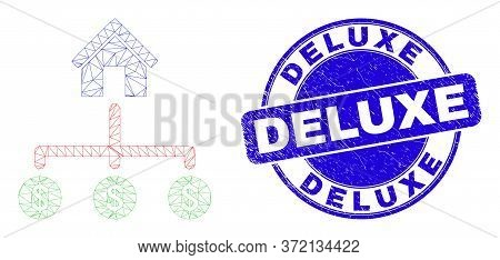 Web Carcass Bank Dollar Links Icon And Deluxe Stamp. Blue Vector Rounded Grunge Seal Stamp With Delu