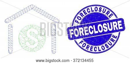 Web Carcass Dollar Garage Bank Icon And Foreclosure Stamp. Blue Vector Rounded Grunge Stamp With For