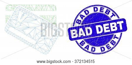 Web Mesh Credit Cards Pictogram And Bad Debt Stamp. Blue Vector Rounded Textured Seal Stamp With Bad