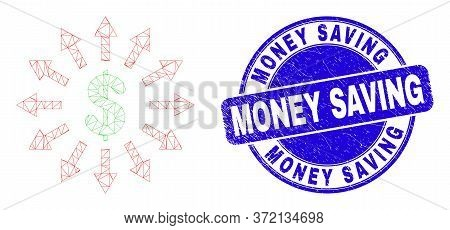 Web Carcass Dollar Emission Icon And Money Saving Watermark. Blue Vector Rounded Grunge Watermark Wi