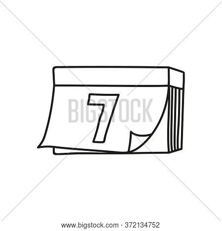 Tear-off Calendar Vector Icon In Doodle Sketch Style With The Date 7