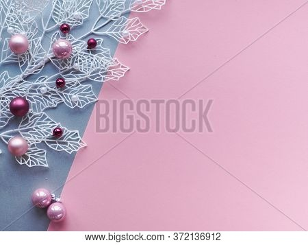 Christmas Winter Flat Lay In Two Color Paper, Pink And Silver, Background With Copy-space. White Win