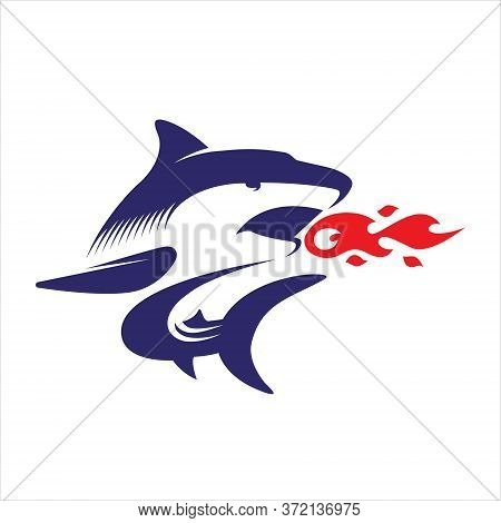 Shark Vector Logo | Fire, Shark Fire, Hot Shark, Shark Bite, Illustration