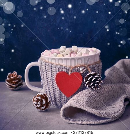 Hot Chocolate With Marshmallows, Red Heart On The Cup On The Tabhot Chocolate With Marshmallows, Red
