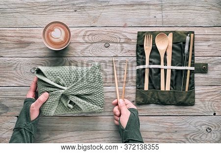 Flat Lay, Zero Waste Lunch - Set Of Reusable Wooden Cutlery, Lunch Box In Textile, Coffee In Reusabl