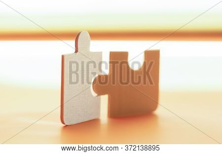 Connect Couple Puzzle Piece. With Sunset Background. Symbol Of Association And Connection, Business