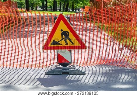 Road Works Sign And Barrier Construction Site