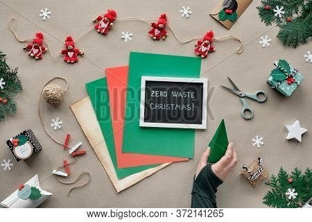 Zero Waste Christmas, Flat Lay, Top View On Craft Paper Background With Textile Trinket Garland, Wra