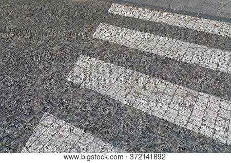 White Paint Zebra Straps Cobblestone Street Crossing
