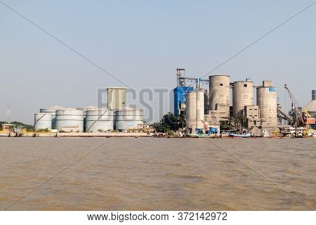 Mongla, Bangladesh - November 15, 2016: Refinery And Cement Factory In Mongla Port, Bangladesh