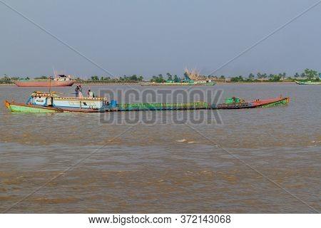 Rupsa, Bangladesh - November 15, 2016: Cargo Ships On Rupsa River, Bangladesh