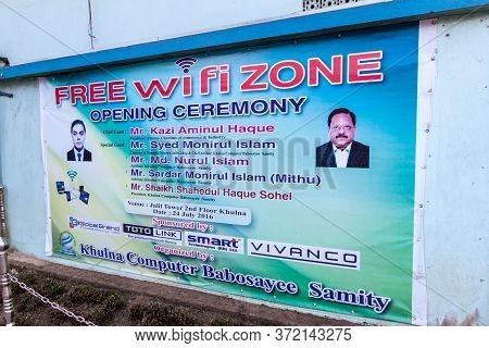 Khulna, Bangladesh - November 16, 2016: Free Wifi Zone Poster On A Wall In Khulna, Bangladesh
