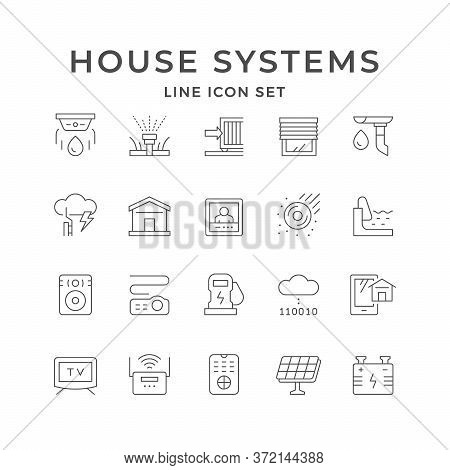 Set Line Icons Of House Systems Isolated On White. Jalousie, Automatic Irrigation, Sound Speaker, Vi