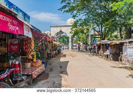 Bagerhat, Bangladesh - November 16, 2016: Street Stalls And A Gate In Bagerhat, Bangladesh
