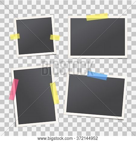 Set Of Vector Realistic Vintage Photo Frame With Colored Adhesive Tape. Empty Old Fashion Photograph