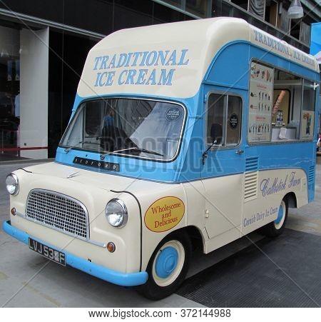 LONDON/ UK- 14th June 2014: Vintage 1960s uk bedford ice cream van.