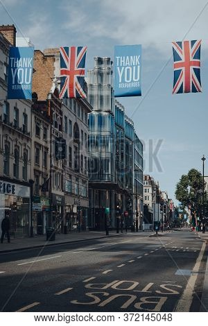 London, Uk - June 13, 2020: View Of Empty New Oxford Street Decorated With Thank You Banners And Uni
