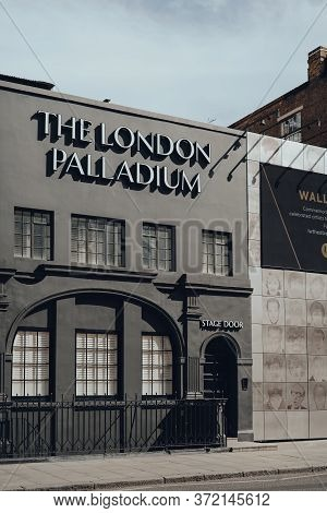London, Uk - June 13, 2020: Exterior And Stage Door To London Palladium Theatre, One Of Most Famous