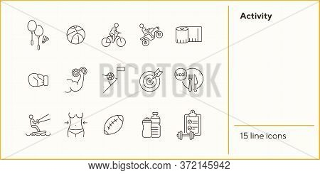 Activity Line Icon Set. Cycling, Game, Slimming. Exercising Concept. Can Be Used For Topics Like Spo