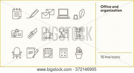 Office And Organization Icon Set. Line Icons Collection On White Background. Stationary, Paperwork,