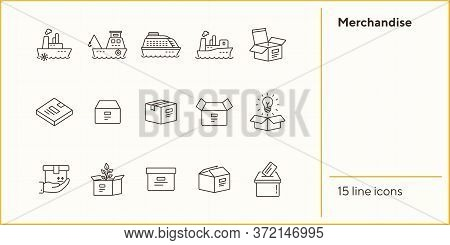 Merchandise Line Icon Set. Delivery And Packaging Concept.vector Illustration Can Be Used For Topics