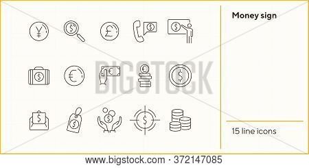 Money Sign Icon Set. Coin, Currency, Wealth. International Business Concept. Can Be Used For Topics