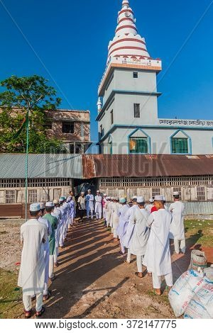 Morrelganj, Bangladesh - November 19, 2016: School Boys Perform Morning Assembly, Where They Sing Th