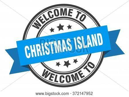 Christmas Island Stamp. Welcome To Christmas Island Blue Sign