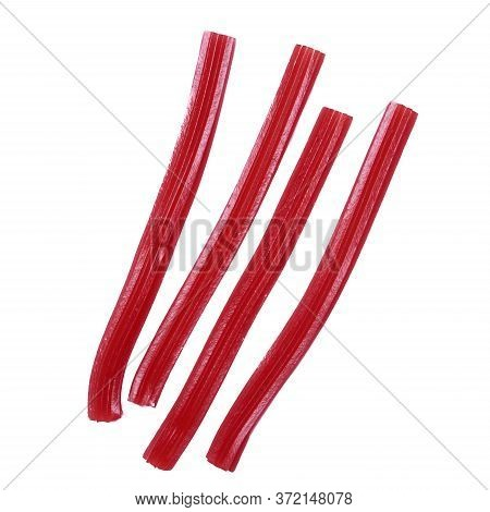 Bright Red Licorice Candy. Cavities Concept. In Chilhood.