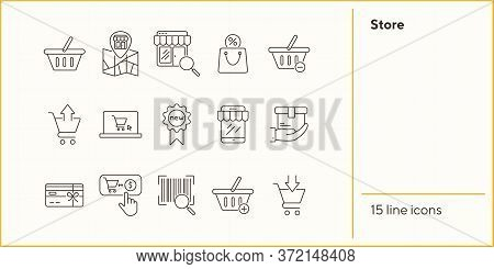 Store Line Icon Set. Cart, Order, Checkout. Shopping Concept. Can Be Used For Topics Like Online Sho