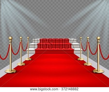 Vector Illustration Of High Podium With Stairs And Red Carpet And Lights Projectors. Realistic Illus