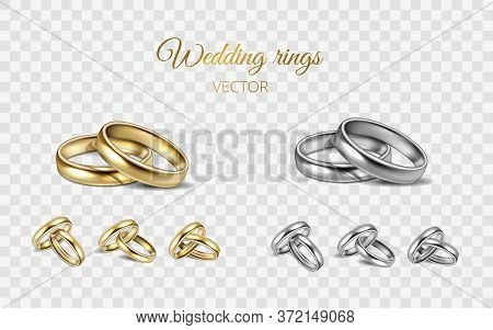 Realistic 3d Shining Set Of Wedding Gold, Silver, Platinum Rings. Two Metal Rings On Transparent Bac