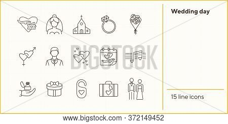 Wedding Day Line Icons. Set Of Line Icons. Bride And Groom, Wedding Ring, Suitcase. Wedding Concept.