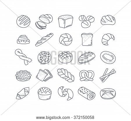 Large Set Of 25 Black And White Bread Icons Showing Assorted Loaves, Rolls, Buns, Cakes, Pretzels, B