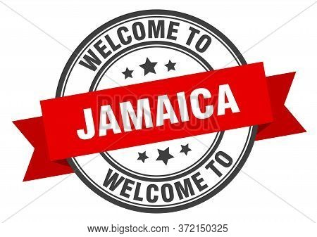Jamaica Stamp. Welcome To Jamaica Red Sign